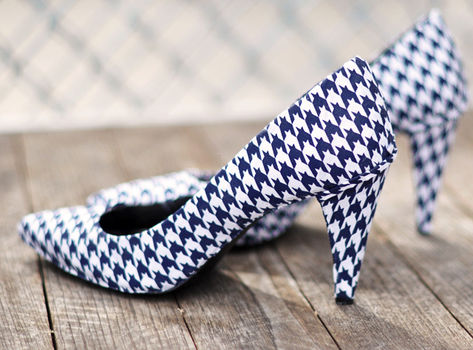 Houndstooth Shoes DIY  .  Free tutorial with pictures on how to make a pair of fabric covered shoes in under 180 minutes by decorating with fabric, scissors, and decoupage glue. Inspired by gwen stefani. How To posted by ..love Maegan. Difficulty: 3/5. Cost: Cheap. Steps: 17