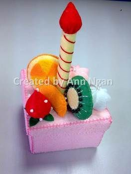 Pretty Felt Cake Storage Box for decoration and store cute stuffs. .  Make a fabric box by needleworking, sewing, and felting with felt, beads, and ribbon. Inspired by babies, birthdays, and fruit. Creation posted by Ann N. Difficulty: 5/5. Cost: Cheap.