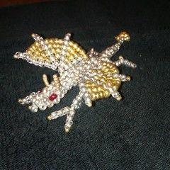3 D Metallic Seed Bead Dragon