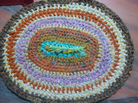 .  Make a rag rug in under 180 minutes by decorating, needleworking, sewing, patchworking, weaving, knitting, and not sewing Inspired by creatures, vintage & retro, and kawaii. Version posted by Vandana J. Difficulty: Simple. Cost: No cost.