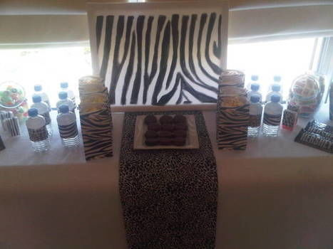 Zebra Birthday Party Sweet Table .  Make a decoration in under 60 minutes using fabric, canvas, and bottle. Creation posted by meatloafsaunt . Difficulty: Easy. Cost: 3/5.