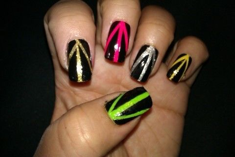 Easy edgy nail art .  Free tutorial with pictures on how to paint patterned nail art in under 20 minutes by creating, nail painting, and decorating with scissors, nail polish, and nail polish. How To posted by Nail Art and other DIY. Difficulty: Simple. Cost: Cheap. Steps: 6