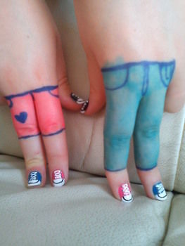 Cute all star nails :) .  Free tutorial with pictures on how to paint a character nail in under 50 minutes by drawing with nail polish, duct tape, and nail polish remover. Inspired by shoes. How To posted by honey bunny. Difficulty: 3/5. Cost: Cheap. Steps: 11