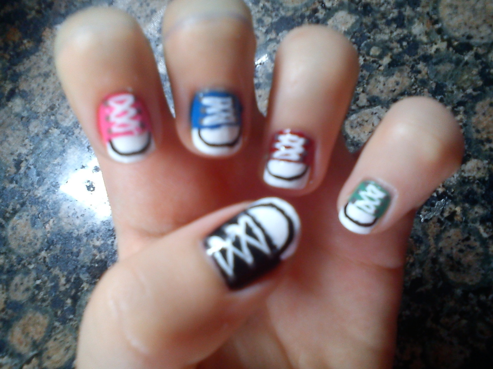 All Star Nails · How To Paint A Character Nail · Drawing ...