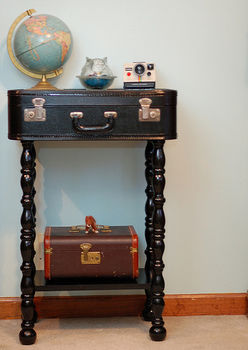DIY Vintage Suitcase Table  .  Free tutorial with pictures on how to make a suitcase table in under 20 minutes by constructing with fabric, suitcase, and table legs. How To posted by Stacie G. Difficulty: Simple. Cost: Cheap. Steps: 2