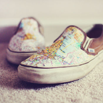 Revamp your shoes with a map and some Mod Podge .  Free tutorial with pictures on how to make a pair of decoupage shoes in under 30 minutes by decoupaging with shoes and map. How To posted by Mandy C. Difficulty: Simple. Cost: Cheap. Steps: 4