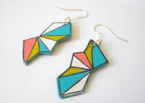 Funky pastel earrings! .  Free tutorial with pictures on how to make a pair of pendant earrings in under 60 minutes by jewelrymaking and decorating with acrylic paint, jump rings, and earring hooks. Inspired by geometric. How To posted by Sandy R. Difficulty: Simple. Cost: Absolutley free. Steps: 5