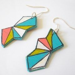 Painted Geometric Earrings