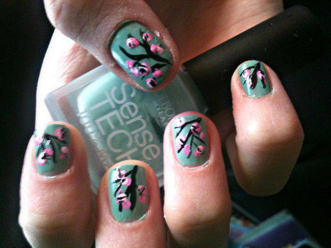 Summer nail design!? .  Paint patterned nail art in under 20 minutes by collage and nail painting with nail polish and toothpick. Inspired by flowers and floral. Creation posted by doricarica. Difficulty: Simple. Cost: No cost.
