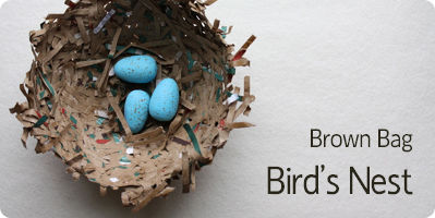 Make A Bird's Nest For Spring .  Free tutorial with pictures on how to make a paper model in under 20 minutes by papercrafting with bowl, paper bag, and plastic wrap. Inspired by birds and bird nests. How To posted by The Long Thread. Difficulty: Simple. Cost: Cheap. Steps: 4