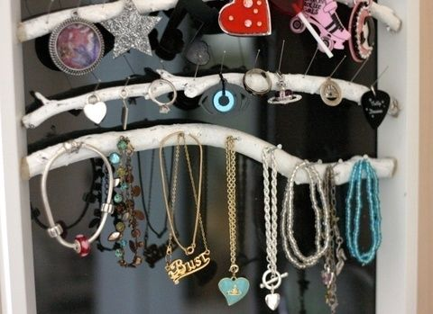 Display your jewellery in style with a frame and branches. .  Free tutorial with pictures on how to make a jewelry frame in under 120 minutes by constructing, woodworking, and decorating with paint, hot glue gun, and paint brush. How To posted by Cat Morley. Difficulty: Simple. Cost: Cheap. Steps: 15