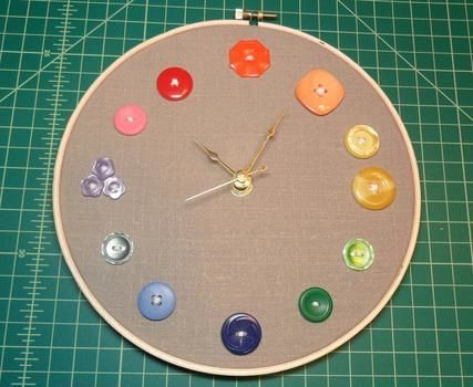 It's just a few stitches in time. .  Free tutorial with pictures on how to make a recycled clock in under 60 minutes by decorating, embellishing, needleworking, embroidering, needlepointing, sewing, and making electronics with fabric, thread, and thread. How To posted by The Broken Thimble. Difficulty: Easy. Cost: Absolutley free. Steps: 6