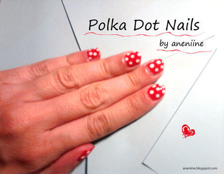 Tutorial on how to paint cute Polka Dot Nails! .  Free tutorial with pictures on how to paint patterned nail art in under 20 minutes by nail painting with materials. Inspired by polka dot. How To posted by aneniine. Difficulty: Easy. Cost: Absolutley free. Steps: 5