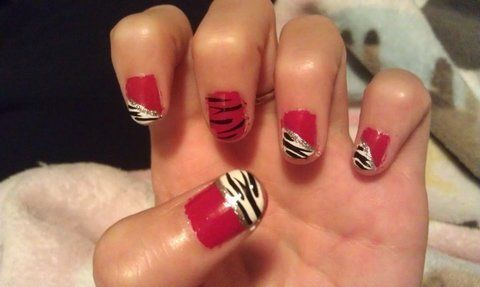 Zebra! <3 .  Paint an animal print nail in under 20 minutes by nail painting and nail painting with nail polish, nail polish, and nail polish. Inspired by crafts, clothes & accessories, and zebra print. Creation posted by KacieBlue . Difficulty: Simple. Cost: Cheap.