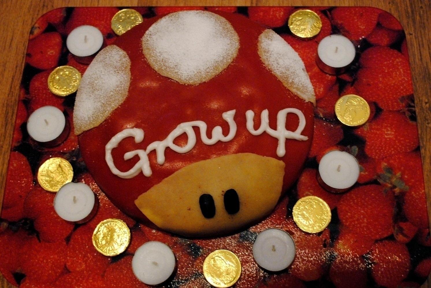 Grow Up Mario Birthday Cake
