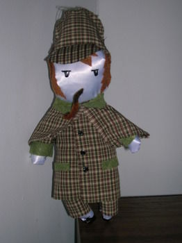 A 1 foot version of the well known detective by Arthur Conan Doyle! .  Sew a TV show plushie by sewing with felt, fabric paint, and needle and thread. Inspired by kawaii and sherlock holmes. Creation posted by A.M.zednanreh. Difficulty: Simple. Cost: 3/5.