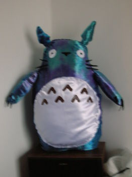 It's Totoro! .  Make a bear plushie by sewing with felt, fabric paint, and needle and thread. Inspired by my neighbor totoro, my neighbor totoro, and creatures. Creation posted by A.M.zednanreh. Difficulty: 3/5. Cost: 3/5.