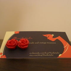 Resin And Polymer Rose Ear Studs