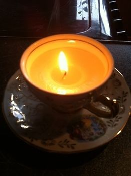 Beautiful and they burn for ages. .  Make a tea cup candle in under 60 minutes using wax, cup, and wick. Creation posted by Jess. Difficulty: Simple. Cost: Cheap.