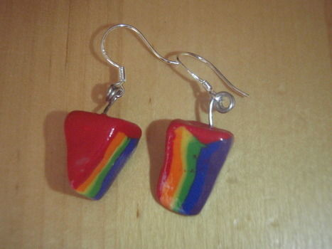 Rainbow cake earrings, polymer clay .  Make a pair of clay earring in under 60 minutes by molding and  with polymer clay. Inspired by food, clothes & accessories, and cake. Creation posted by Sandra. Difficulty: Simple. Cost: Cheap.