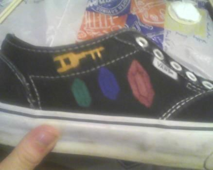 Free-form painting on my Vans :) .  Paint a pair of character shoes in under 60 minutes by decorating with paint, shoes, and paintbrushes. Inspired by legend of zelda, shoes, and paint palette. Creation posted by embyr. Difficulty: Simple. Cost: Cheap.