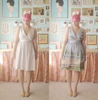 Anthropologie inspired DIY landscape dress .  Free tutorial with pictures on how to decorate a painted dress in under 120 minutes by decorating and dressmaking with water, fabric paint, and dress. Inspired by anthropologie. How To posted by kate gabrielle. Difficulty: 3/5. Cost: Absolutley free. Steps: 1