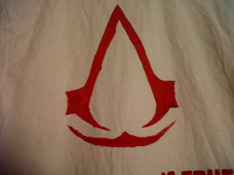 Assasins creed logo and creed designed shirt  .  Paint a character top in under 60 minutes by stencilling and decorating with paint brush, fabric paint, and stencil. Inspired by costumes & cosplay, assassins creed, and clothes & accessories. Creation posted by Gemma. Difficulty: Easy. Cost: Absolutley free.