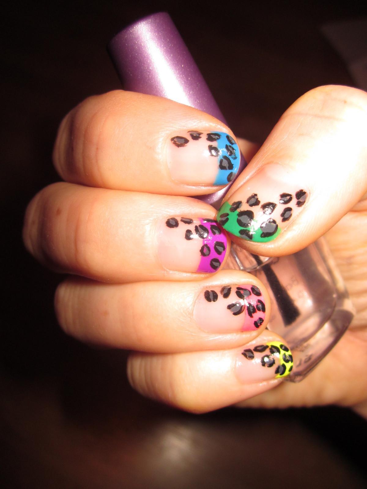 Nail Art Coloured Tips With Leopard Print An Animal Nail Art