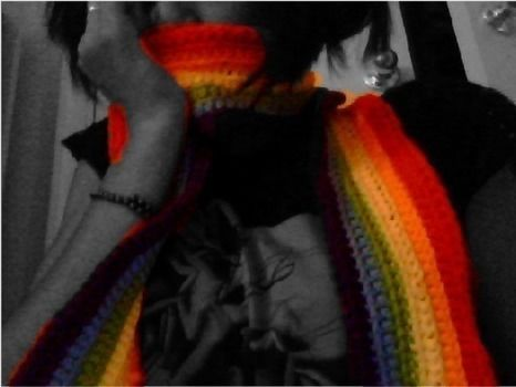 To sport LGBT pride or just because you love rainbows. I mean, who doesn't ? .  Free tutorial with pictures on how to knit or crochet a stripy scarf in under 60 minutes by crocheting and crocheting with yarn and crochet hook. Inspired by people and clothes & accessories. How To posted by pastelballerina. Difficulty: Easy. Cost: No cost. Steps: 4