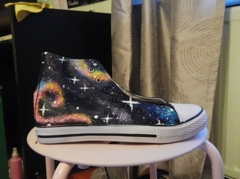 Cuteh? .  Paint a pair of patterned shoes in under 120 minutes by decorating with acrylic paint, time, and canvas shoes. Inspired by space, clothes & accessories, and galaxy print. Creation posted by Pancakeboy. Difficulty: Easy. Cost: 3/5.