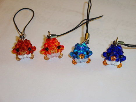 Fiery, Shiny, Cute. .  Make a beaded charm in under 30 minutes by beading with seed beads, glass beads, and fishing line. Inspired by creatures, birds, and kawaii. Creation posted by DarkShadowfax. Difficulty: 4/5. Cost: 3/5.