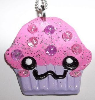 A clay cupcake charm with glitter and beads for sprinkles. I put this one on a necklace.  .  Sculpt a clay food necklace in under 30 minutes by jewelrymaking and molding with beads and sculpting clay. Inspired by kawaii and clothes & accessories. Creation posted by chibimaru. Difficulty: Easy. Cost: No cost.