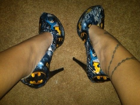 """Hey! Are you wearing Batman shoes?"" ""Heck yes I am!!"" .  Make a pair of decoupage shoes in under 120 minutes by not sewing with fabric, decoupage glue, and shoes. Inspired by batman and clothes & accessories. Creation posted by Stacey M. Difficulty: Easy. Cost: Absolutley free."