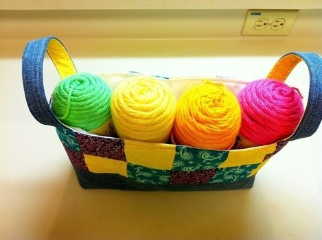 For storing stash .  Sew a fabric basket in under 60 minutes by sewing and patchworking with fabric, thread, and batting. Creation posted by Princess Pam-attitude . Difficulty: Simple. Cost: No cost.