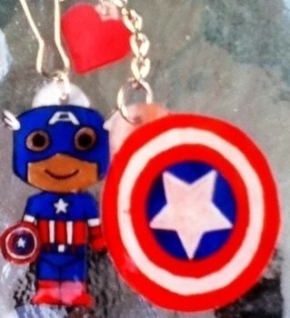 Avengers Assemble!!! .  Make a charm / keyring in under 60 minutes by creating, decorating, jewelrymaking, and papercrafting with oven, colored pencil, and key chain. Inspired by halloween, costumes & cosplay, and vintage & retro. Creation posted by Kristen K. Difficulty: Simple. Cost: Cheap.