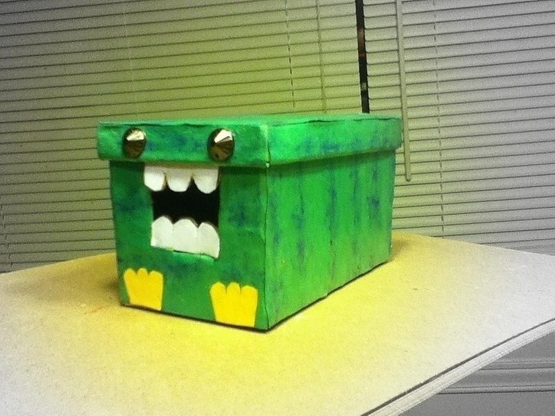 Small Cardboard Monster Box 183 A Paper Box 183 Art Drawing