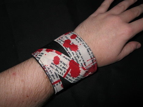 A touch of the Gothic for Halloween.. or anytime .  Make a fabric cuff in under 60 minutes by decorating and sewing with fabric, ribbon, and buttons. Inspired by halloween, gothic, and clothes & accessories. Creation posted by Stephanie K. Difficulty: Easy. Cost: Cheap.