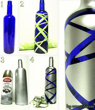 Turn those lovely blue, wine bottles into one-of-a-kind vases! .  Free tutorial with pictures on how to decorate a bottle vase in under 20 minutes by decorating with spray paint, contact paper, and wine bottle. How To posted by cancandancer. Difficulty: Easy. Cost: Absolutley free. Steps: 1