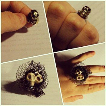 It's a skully kind of day  .  Make a charm ring in under 20 minutes by decorating and embellishing with charms and ring base. Inspired by gothic, costumes & cosplay, and skulls & skeletons. Creation posted by Mousey. Difficulty: Simple. Cost: No cost.