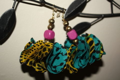 Fabric Earrings to add some colour to any outfit .  Make a pair of fabric earrings by jewelrymaking and sewing with beads, needle & thread, and fish hook earrings. Inspired by clothes & accessories. Creation posted by Caroline Queencaz. Difficulty: Easy. Cost: 3/5.