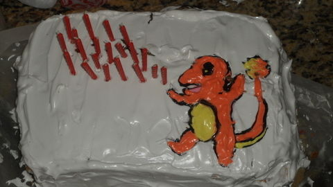 For my boyfriend's birthday :) .  Decorate a cartoon cake in under 150 minutes by drawing, baking, and decorating food with cake mix, icing, and candle. Creation posted by Jennifer. Difficulty: 3/5. Cost: Cheap.