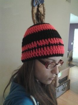 I love hats! .  Make a stripy beanie in under 40 minutes by crocheting with yarn and crochet hook. Creation posted by Krista B. Difficulty: Simple. Cost: Cheap.