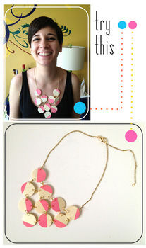 Turn cheap wooden craft circles into a fabulous statement necklace. .  Free tutorial with pictures on how to make a wooden necklace in under 30 minutes by decorating and jewelrymaking with acrylic paint, jump rings, and chain. How To posted by Mandy P // Fabric Paper Glue. Difficulty: Simple. Cost: Cheap. Steps: 9