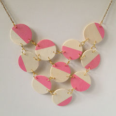 Pink + Wood Bib Statement Necklace