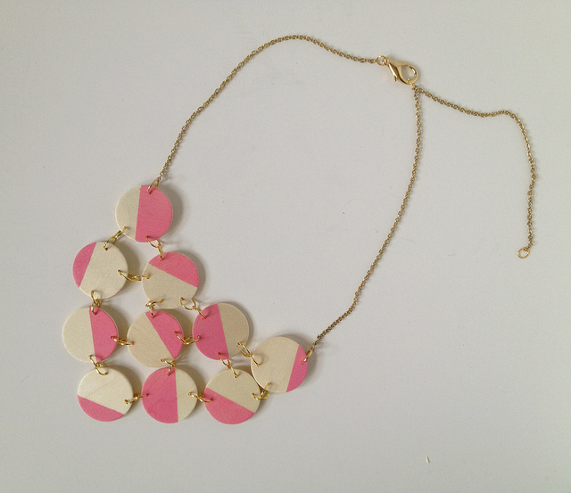 Pink Wood Bib Statement Necklace 183 How To Make A Wooden