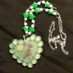 Cute Handmade Dinosaur Resin Heart Necklace
