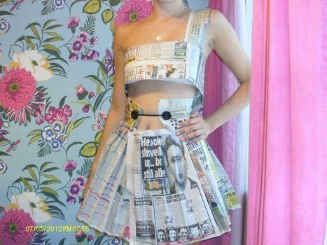 Cute two piece newspaper outfit .  Recycle a paper dress in under 90 minutes by creating, constructing, papercrafting, paper folding, and paper folding with scissors, buttons, and pins. Inspired by clothes & accessories. Creation posted by louise.devonport. Difficulty: Easy. Cost: Absolutley free.