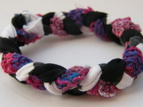 The classic! .  Make a braided fabric bracelet in under 20 minutes by braiding and jewelrymaking with scissors, t shirt, and closure. Creation posted by Anna H. Difficulty: Easy. Cost: Absolutley free.