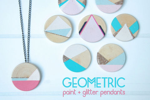 Modern wooden pendants with a touch of sparkle .  Free tutorial with pictures on how to make a paper necklace in under 60 minutes by decorating, jewelrymaking, and decoupaging with glitter, craft paint, and matte mod podge. Inspired by geometric. How To posted by Jesse M. Difficulty: Simple. Cost: 3/5. Steps: 6