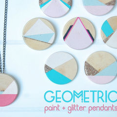 Geometric Paint + Glitter Pendants